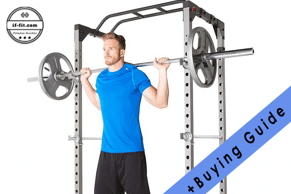 A man using a budget power rack on his home