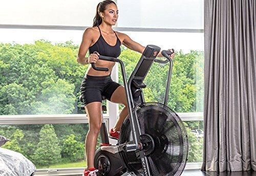 A woman using an air/fan bike